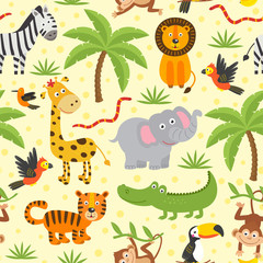 seamless pattern with funny jungle animals  -  vector illustration, eps