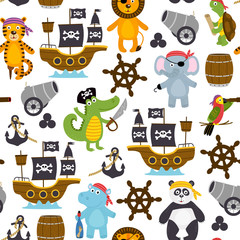 seamless pattern with funny pirates animals   -  vector illustration, eps