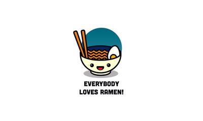 Everybody Loves Ramen Pun Poster Vector Illustration in Flat Style Line Art