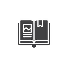 Open book with bookmark vector icon. filled flat sign for mobile concept and web design. Reading simple solid icon. Symbol, logo illustration. Pixel perfect vector graphics