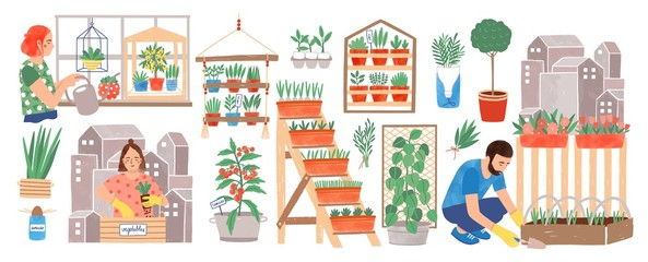 Urban gardening collection. People living in city cultivating plants, growing crops or vegetables in pots at home or on balcony isolated on white background. Colorful hand drawn vector illustration.