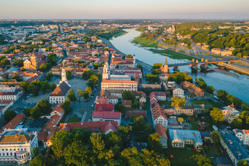 Aerial view of Kaunas old town, Lithuania