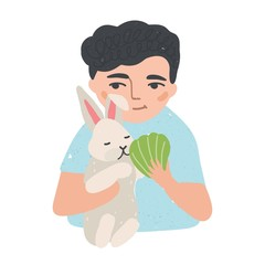 Portrait of young man or boy holding his bunny or rabbit and feeding it. Adorable male cartoon character with domestic animal. Cute pet owner. Colorful vector illustration in flat cartoon style.