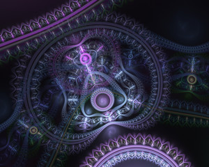 Steampunk. Time machine. Futuristic mechanic engine. Abstract fractal color texture. Modern fractal mechanical background. Digital artwork for creative graphic design.