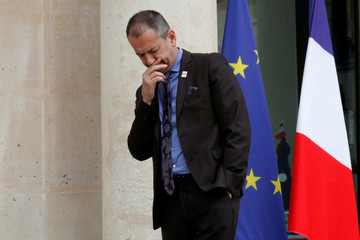 Pascal Pavageau, Force Ouvriere (FO) labour union General Secretary, leaves after a meeting with French labour unions representatives, employers groups and the French President at the Elysee Palace in Paris