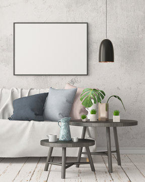 Mock up poster in an interior in Scandinavian style with a sofa. 3D rendering
