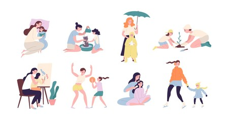 Mother and daughter performing daily activities together - reading book, planting tree, walking under rain, playing sports game, ice-skating, painting, washing cat. Flat colored vector illustration.