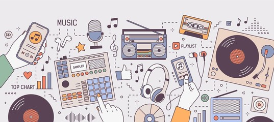 Colorful horizontal banner with hands and devices for music playing and listening - player, boombox, radio, microphone, earphones, turntable, vinyl records. Vector illustration in line art style.