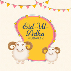 Greeting card design decorated with bunting flag for Eid Ul Adha (Festival of Sacrifice) celebration concept with illustration of sheep animal