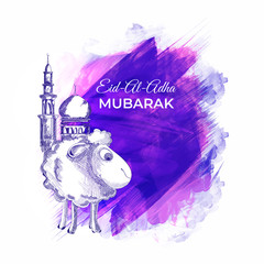Eid Al Adha Mubarak greeting card design with hand drawn sheep and mosque on abstract brush stroke background for Muslim festival celebration concept.