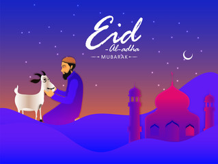Eid Al Adha Mubarak celebration background with mosque on night view landscape with illustration of man and goat for celebration Festival of Sacrifice.
