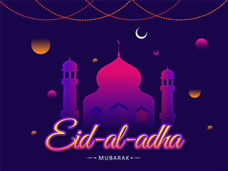 Blue greeting card design with illustration of mosque and abstract elements for Eid Al Adha (Festival of Sacrifice) celebration concept.