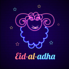 Sheep made by neon effect on brick wall and decorated with stars for Eid Al Adha (Festival of Sacrifice) celebration concept.