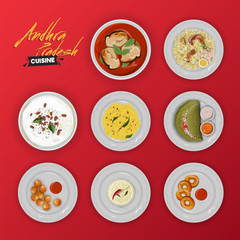 Andhra Pradesh Cuisine collection of traditional menu on red background.