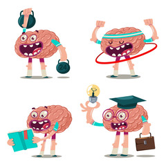 Funny cartoon brain reads a book, a graduate with a light bulb, trains with weights and hula hoop. Vector character set isolated on white background. Brainstorm illustration.