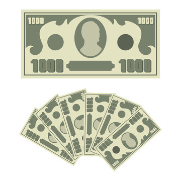 1000 dollars bill and money cash fan. Vector flat simple banknote icons isolated on white background.