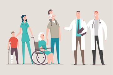 Doctor and nurse with patients of different ages. Medical staff vector cartoon flat character isolated on background.