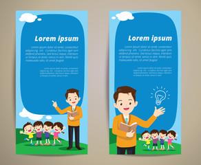 education teacher children banner background