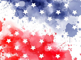 Watercolor background in USA flag colors with stars