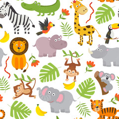 seamless pattern jungle animals  on  white background  -  vector illustration, eps