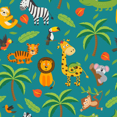 seamless pattern with jungle animals and tropical plants -  vector illustration, eps