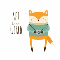 Hand drawn vector illustration of a cute funny fox with photo camera, lettering quote See the world. Isolated objects. Scandinavian style flat design. Concept for children print, summer holidays.