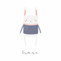 Hand drawn vector illustration of a cute funny hare in sweater, with calligraphic hand written quote. Isolated objects. Scandinavian style flat design. Concept for children print.