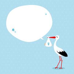 Stork Baby Boy Speech Bubble Blue