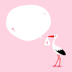 Stork Baby Girl Speech Bubble Pink