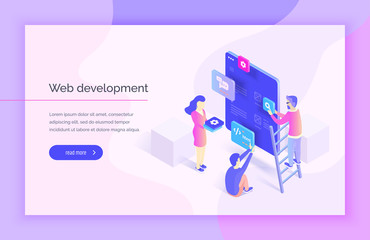 Web design, development. People interact with parts of the interface, creating an interface for the mobile application. Modern vector illustration isometric style.