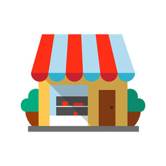 Small shop flat design long shadow color icon