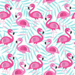 seamless pattern with pink flamingo and blue tropical leaf -  vector illustration, eps