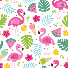 cheerful  tropical seamless pattern with pink  flamingo -  vector illustration, eps