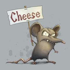 Protesting rat demanding cheese