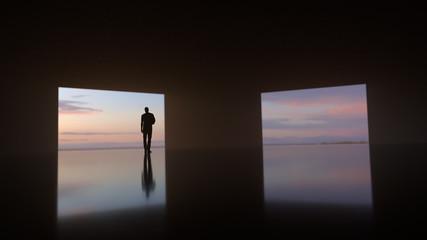 man standing by the open door