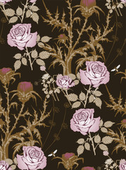 Pattern of thistle and roses. Vector illustration
