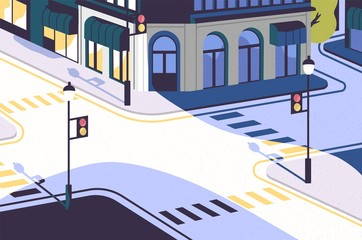 Fototapete - Urban landscape with empty street corner, elegant buildings, crossroad with traffic signals and pedestrian crossings or crosswalks. District of modern city. Vector illustration in cartoon flat style.