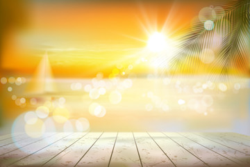 View of a tropical beach with a sailboat. Sunrise. Vector Illustration.