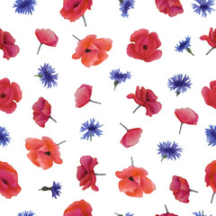 Watercolor poppies and cornflowers seamless pattern