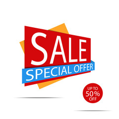 Sale banner. Red discount poster on a light background. Special offer, Up to 50% off. Vector illustration, eps10