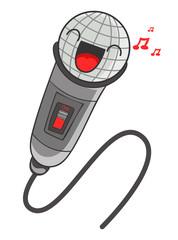 cartoon microphone, vector illustration