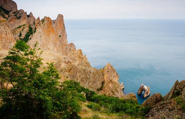 Karadag mountain range in Crimean mountains, an ancient extinct volcano.