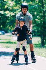 Grandson learning roller skating