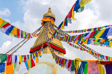 Boudhanath Stupa and prayer flags in Kathmandu Fototapete
