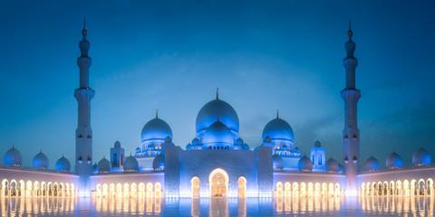 Sheikh Zayed Grand Mosque at evening Abu Dhabi Wall mural