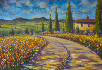 Tuscany painting French rural landscape. Italian Tuscany. high cypresses, field of red poppies, old village house, road, mountains and blue sky in background illustration artwork art
