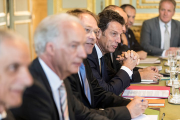 President of Medef Geoffroy Roux de Bezieux, center, attends with other union representatives a meeting with French President Emmanuel Macron, at the presidential Elysee palace in Paris