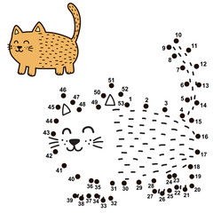 Connect the dots and draw a funny fat cat. Numbers game for children. Vector illustration