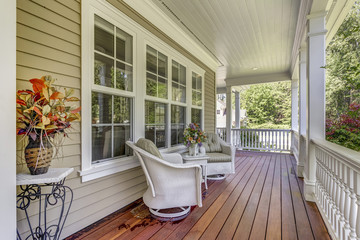 Large country home with wrap-around deck. Wall mural