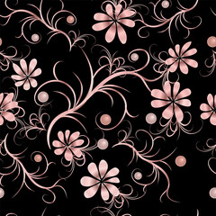 Floral pattern with pink flowers. Seamless vintage background